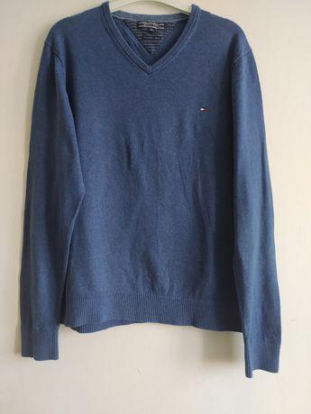 Sweter niebieski  xl Tommy Hilfiger bawełna i kaszmir