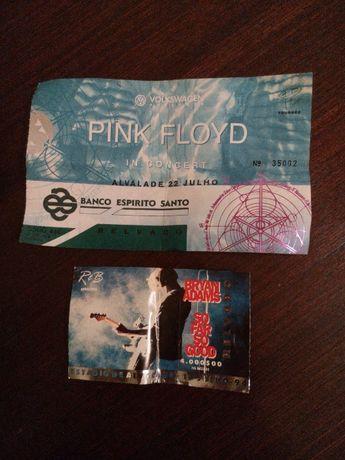 Bilhetes concertos Pink Floyd e Brian Adams