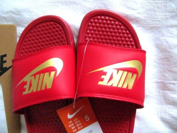 Nike Benassi JDI - klapki czerwone i złote logo NOWE r. 37,5