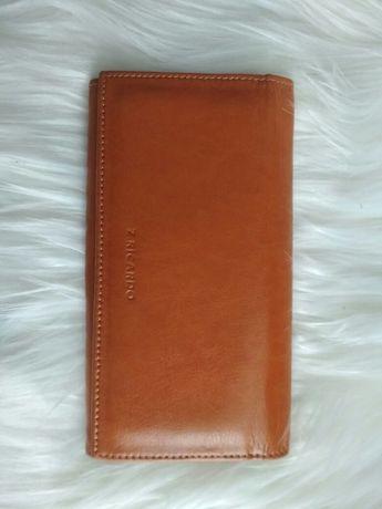 Nowy portfel ze skóry naturalnej, licowej, polski, kolor miodowy
