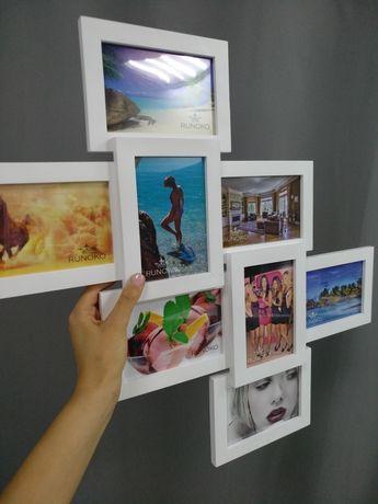 Фоторамка коллаж, из белого дерева, на 8 фотографий 10×15