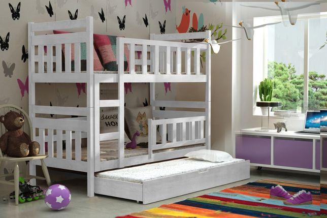 Trzyosobowe łóżko piętrowe dla dzieci TOM z materacami gratis!