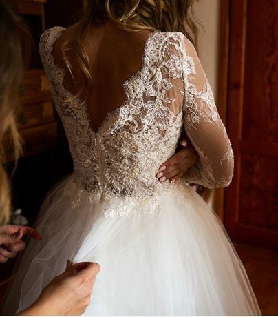 Sprzedam suknię Sylwii Kopczyńskiej, rozmiar 36-38, wzrost 180 cm+7 cm