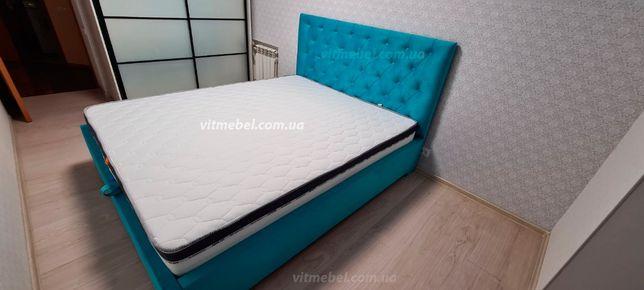кровать двуспальная Аврора с мягкой оббивкой, с подъемным механизмом