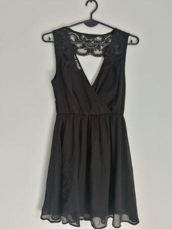 XS/S śliczna sukienka koronka czarna zwiewna ślub wesele