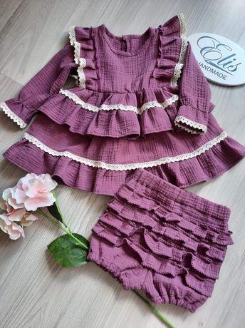 Sukienka bloomersy spódniczka bluzka muślinowa