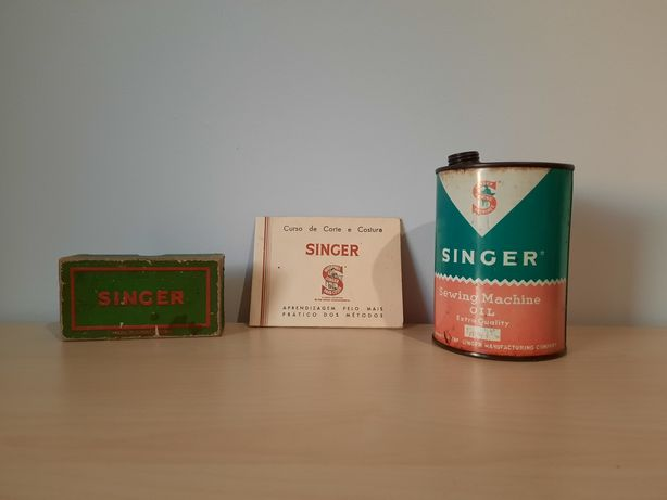Singer - Lata de óleo / Caixa kit reparação / Manual curso de costura