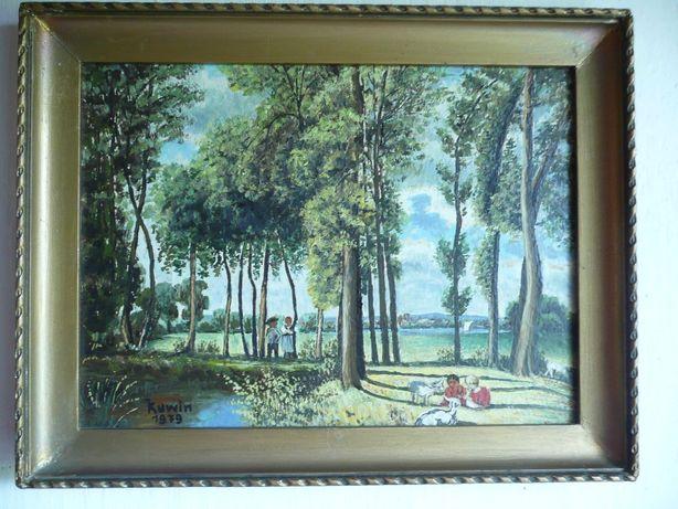 obraz olejny zdobiona rama sygnowany las dzieci