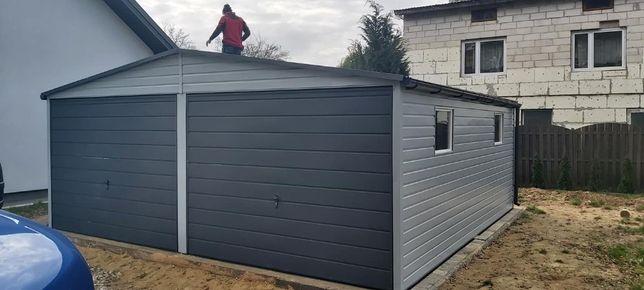 Garaż blaszany 6x6 poziom kolor RAL 9006 Garaże blaszane Profil Rynny