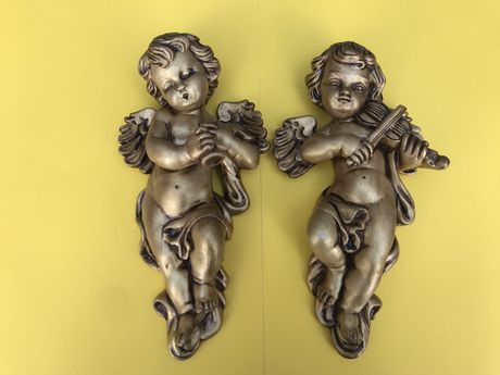 2 anjos pintados a nao para pendurar na parede