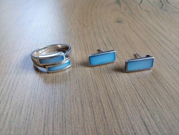 Kolczyki z pierścionkiem z masą perłową