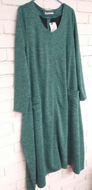 Зеленое макси платье, большой размер