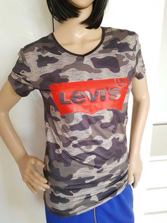 Bluzka Levis moro militarna logowana 38 M koszulka logo
