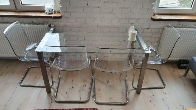 Zestaw Szklany Stół i 4 Krzesła Ikea Tobias