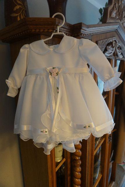 Sukienka do chrztu z płaszczykiem biała r. 68
