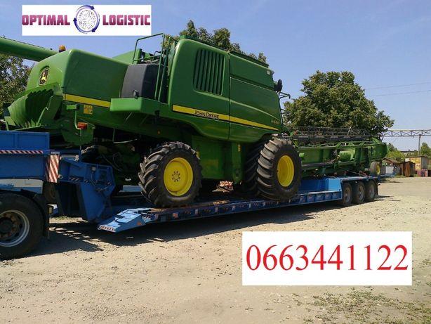 Перевозка комбайна сельхозтехники негабаритных грузов заказать трал