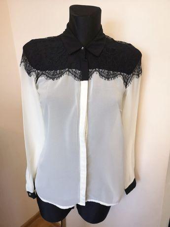 Koszula świąteczna biała czarna koronkowa 36 S damska elegancka