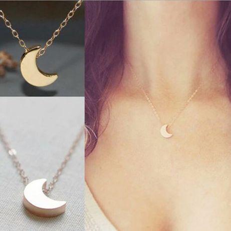 Nowy złoty srebrny naszyjnik wisiorek łańcuszek księżyc.