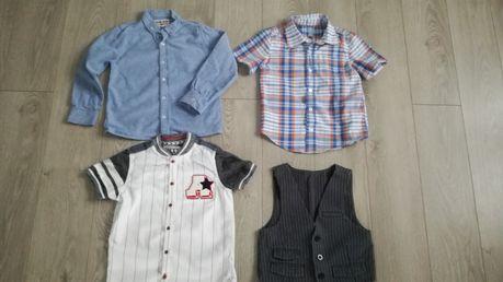 3 koszule i kamizelka chłopiec 4-5 lat