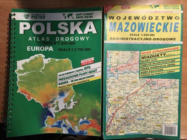 Atlasy drogowe Polska Europa Mazowsze Nowe!