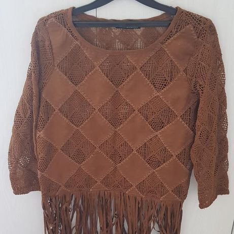 Жіноча блузка Bershka, замш, бахрома