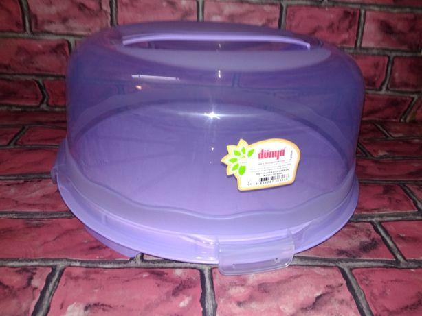 тортовница круглая на зажимах для хранения и переноски выпечки