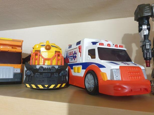 Duże auta Dickie lokomotywa śmieciarka karetka