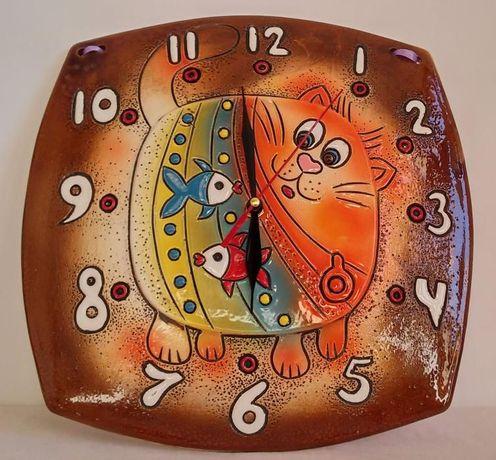 Часы настенные Кот и рыбки, ручная работа