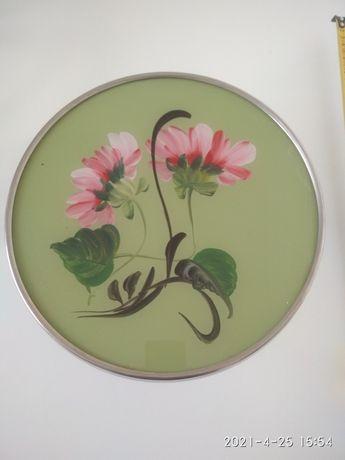 Patera na tort ciasto talerz PRL ART kwiaty