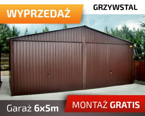 Garaż Blaszany 6x5m - Dwie Bramy Uchylne, Ciemny Orzech, wiaty,hale