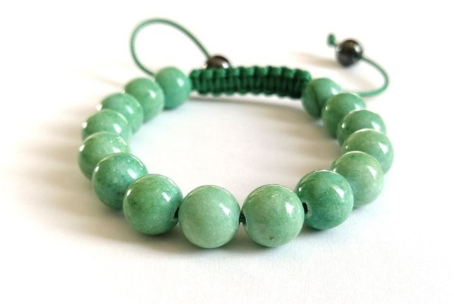 HandMade_shamballa z kamieni marmurek zielony