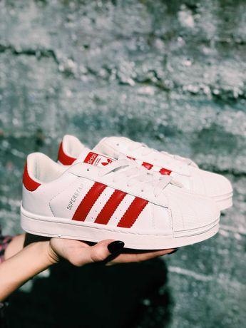 Кроссовки Adidas Superstar White & Red Адидас Суперстар