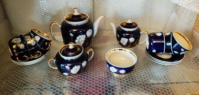 Чайный сервиз с позолотой кобальтовое покрытие
