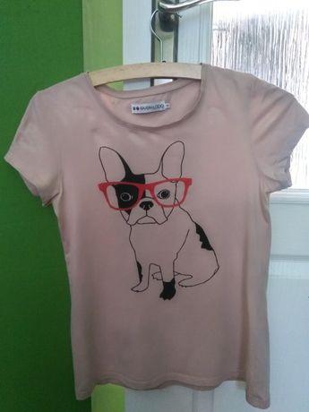 koszulka t-shirt pies buldog roz. S