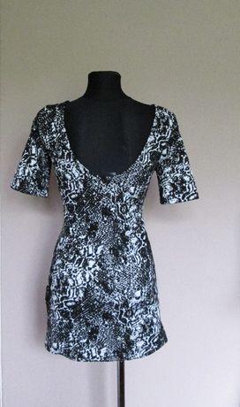 H&M czarno biała sukienka z dekoltem na plecach r. L