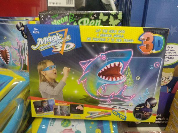 Распродажа . 3D доска для рисования,очки ,маркеры.3DYМ381/2/3. Купить.