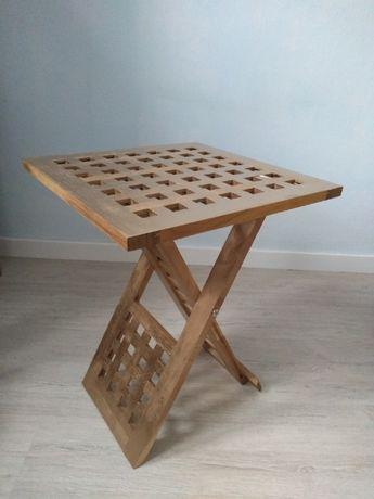 Stolik kawowy boczny drewniany składany pomalowany na złoty kolor