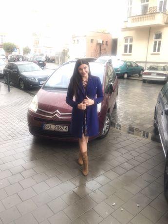 Aryton płaszcz niebieski kaszmir dyplomatka elegancja 38-M unikat