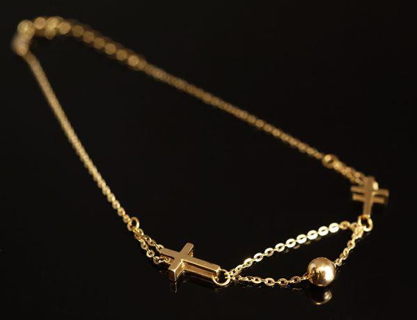 Złoto 585-złota bransoletka damska CELEBRYTKA z krzyżykami