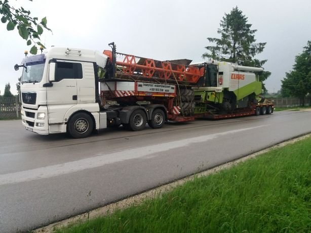 Transport niskopodwoziowy kombajnów traktorów koparki
