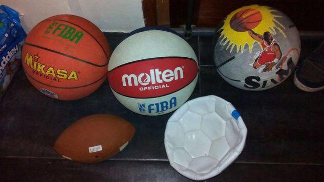 5 bolas 3 basketball, 1 rugby ,1 futebol