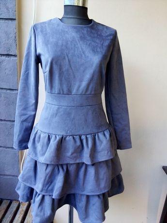 Серое новое платье