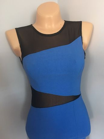 Sukienka bandazowa dopasowana elastyczna miss Selfidge s/m z siatką