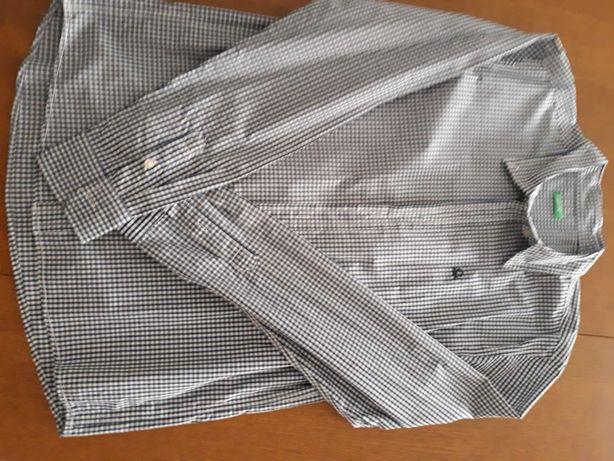 Camisa benetton para rapaz xadrez azul tamanho 3XL como nova