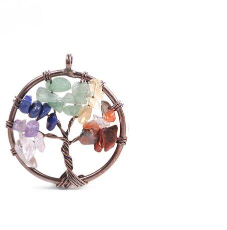 wisiorek zawieszka naszyjnik drzewo życia 7 czakr kamienie naturalne
