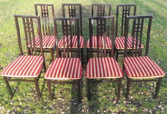 Krzesła drewniane czarne wyściełane tapicerowane