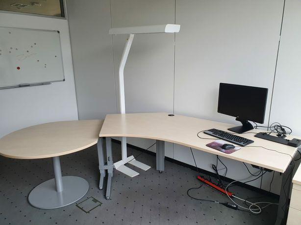 Meble Biurowe Używane Biurko z Regulacją Fotel Lampa Kontenerek