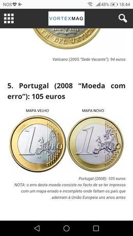 Moeda de 1 euro ano 2008 mapa velho