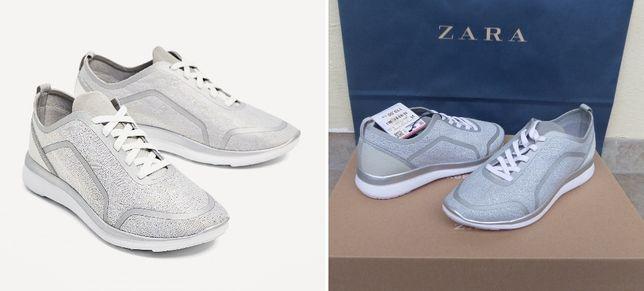 ZARA nowe tekstylne buty sportowe adidasy srebrne szare ROZMIAR 35 36