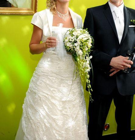 Śmietankowa suknia ślubna 38 M